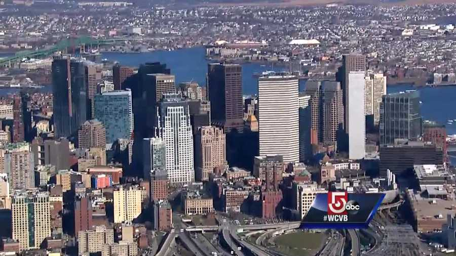 Sky 5 provides a beautiful view of Boston's skyline on a warm December afternoon.