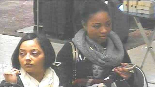 A screen grab from a security video that shows two women Natick Police said stole more than $3,500 worth of clothing.