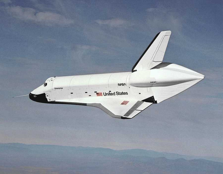 The Space Shuttle Enterprise test vehicle makes its maiden flight