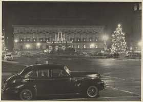 1940-1949 (Approximate): McKim Building and Copley Square, Christmas.