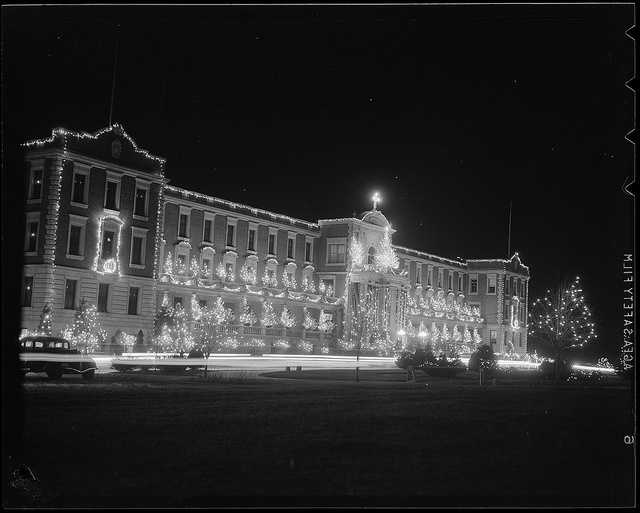 1934-1956 (approximate): St. Francis' seminary decorated for Christmas.