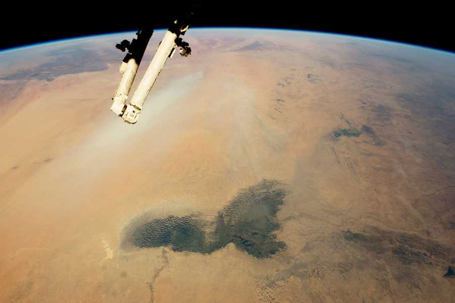 Lake Chad and a Bodele Dust Plume, Sahara. Expedition 42: 02 February, 2015.