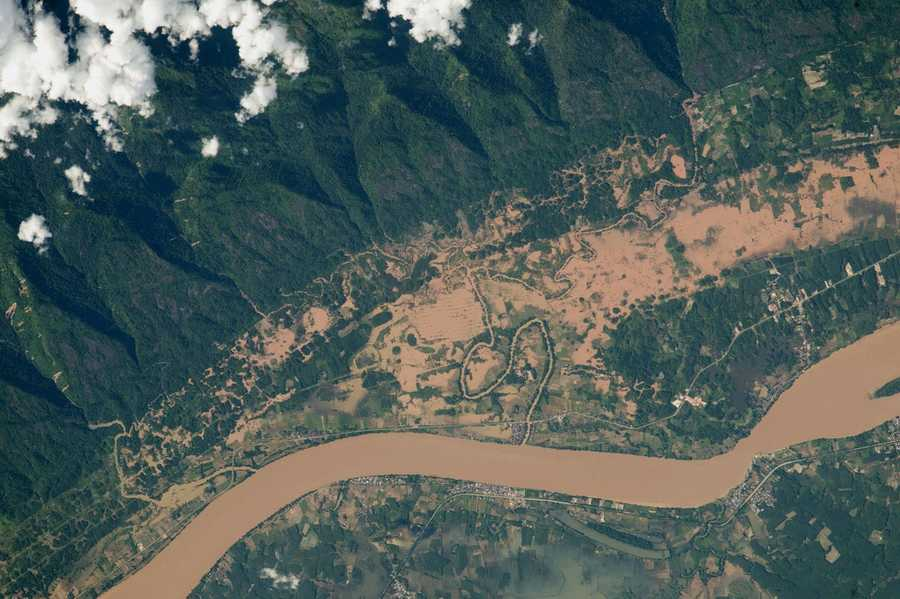 Flooding on the Mekong River floodplain, Thailand and Laos. Expedition 44: 8 August, 2015.