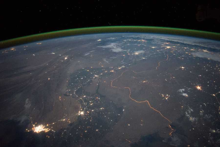 India-Pakistan Border at Night. Expedition 45: 23 September, 2015.