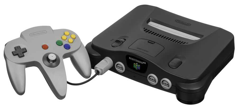 "Nintendo 64: Released in North America during September 1996.(""Nintendo-64-wController-L"" by Evan-Amos - Own work. Licensed under Public Domain via Commons - https://commons.wikimedia.org/wiki/File:Nintendo-64-wController-L.jpg#/media/File:Nintendo-64-wController-L.jpg)"