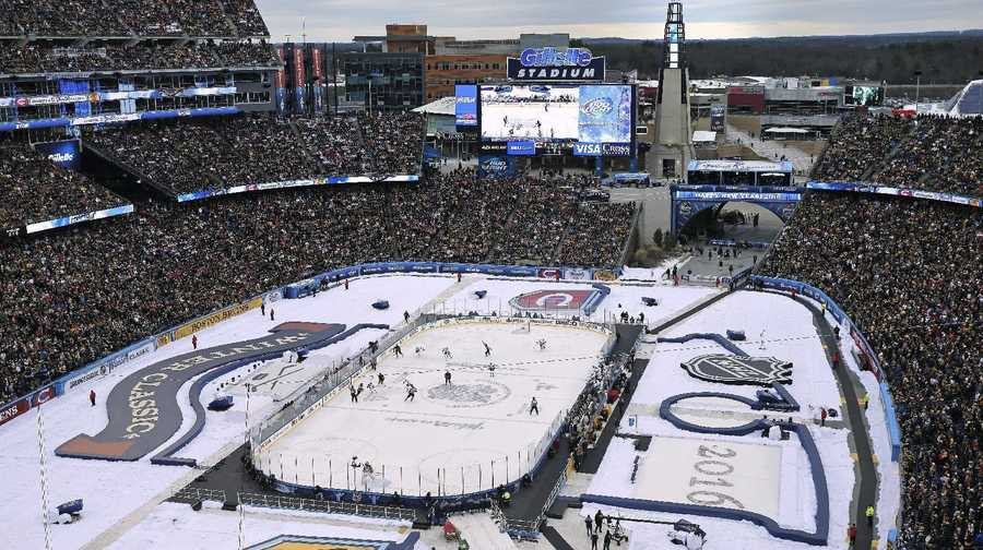 The Boston Bruins play the Montreal Canadiens during the first period of the NHL Winter Classic hockey game at Gillette Stadium in Foxborough, Mass., Friday, Jan. 1, 2016.