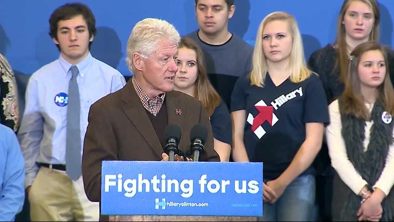 Former President Bill Clinton hit the campaign trail Monday, making his first speech for his wife Hillary Clinton, who is running for president of the United States.