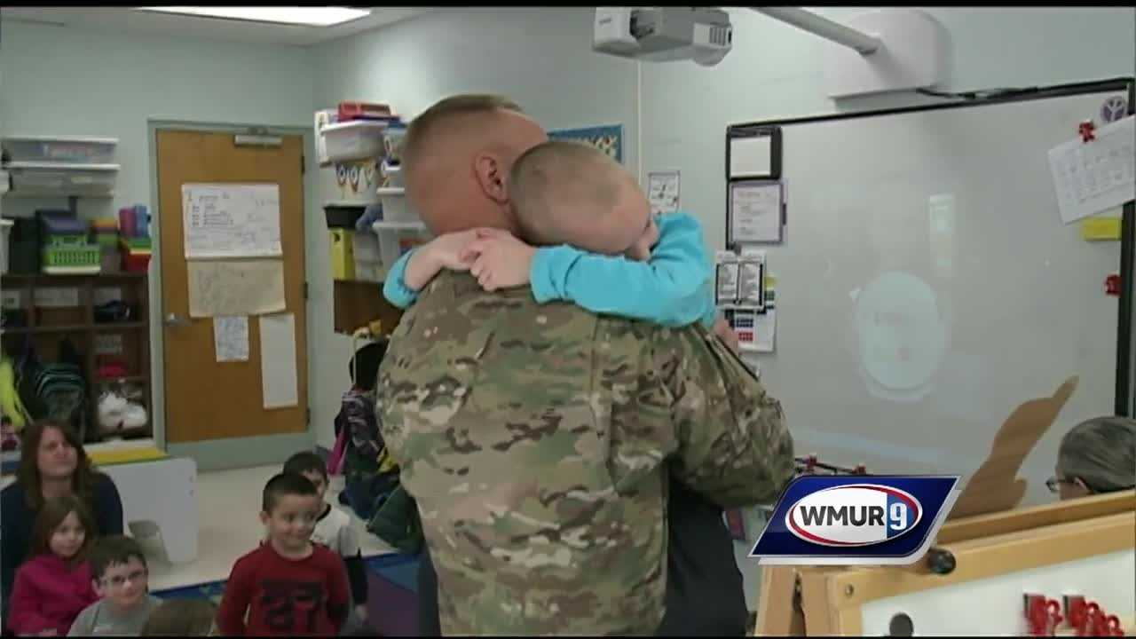 First-grader Declan Osborne has been counting down 11 months for his father to return from his National Guard deployment. He thought he still had a few days to go Tuesday, but his dad had a surprise in store for him.
