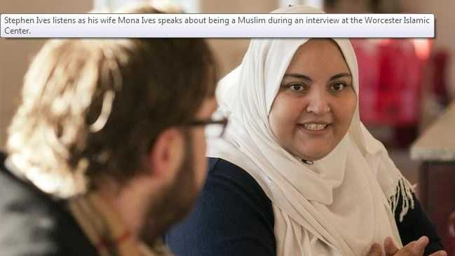 Stephen Ives listens as his wife Mona Ives speaks about being a Muslim during an interview at the Worcester Islamic Center.