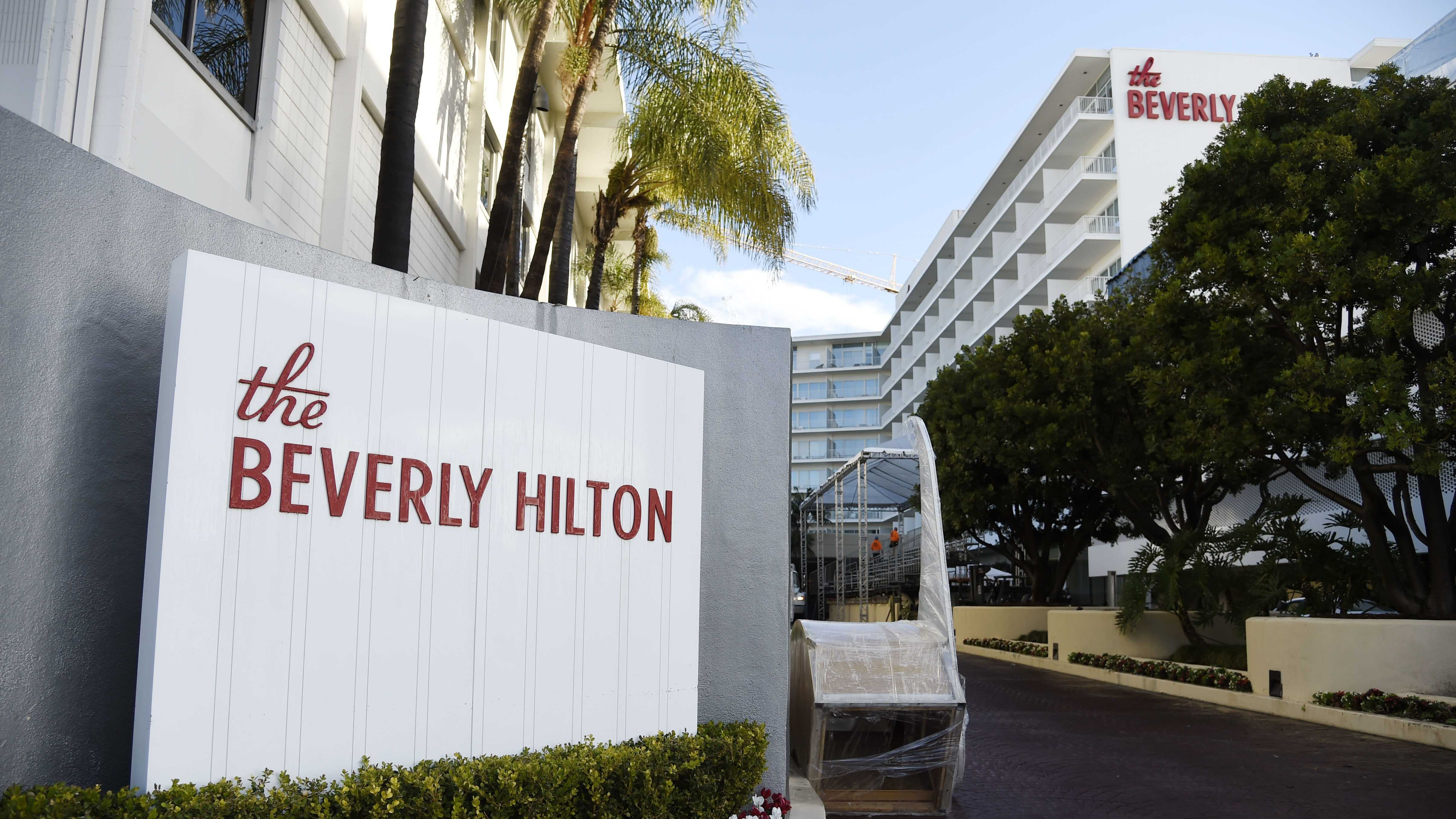 The Beverly Hilton, location of the 73rd Annual Golden Globe Awards, is seen on preview day on Thursday, Jan. 7, 2016, in Beverly Hills, Calif. The annual awards show including film and television will be held on Sunday.