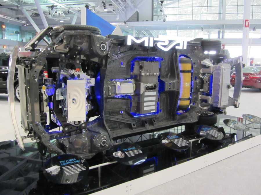 ... and alternative fuel cell technology, like Toyota's display showing the inner workings of its new Mirai.