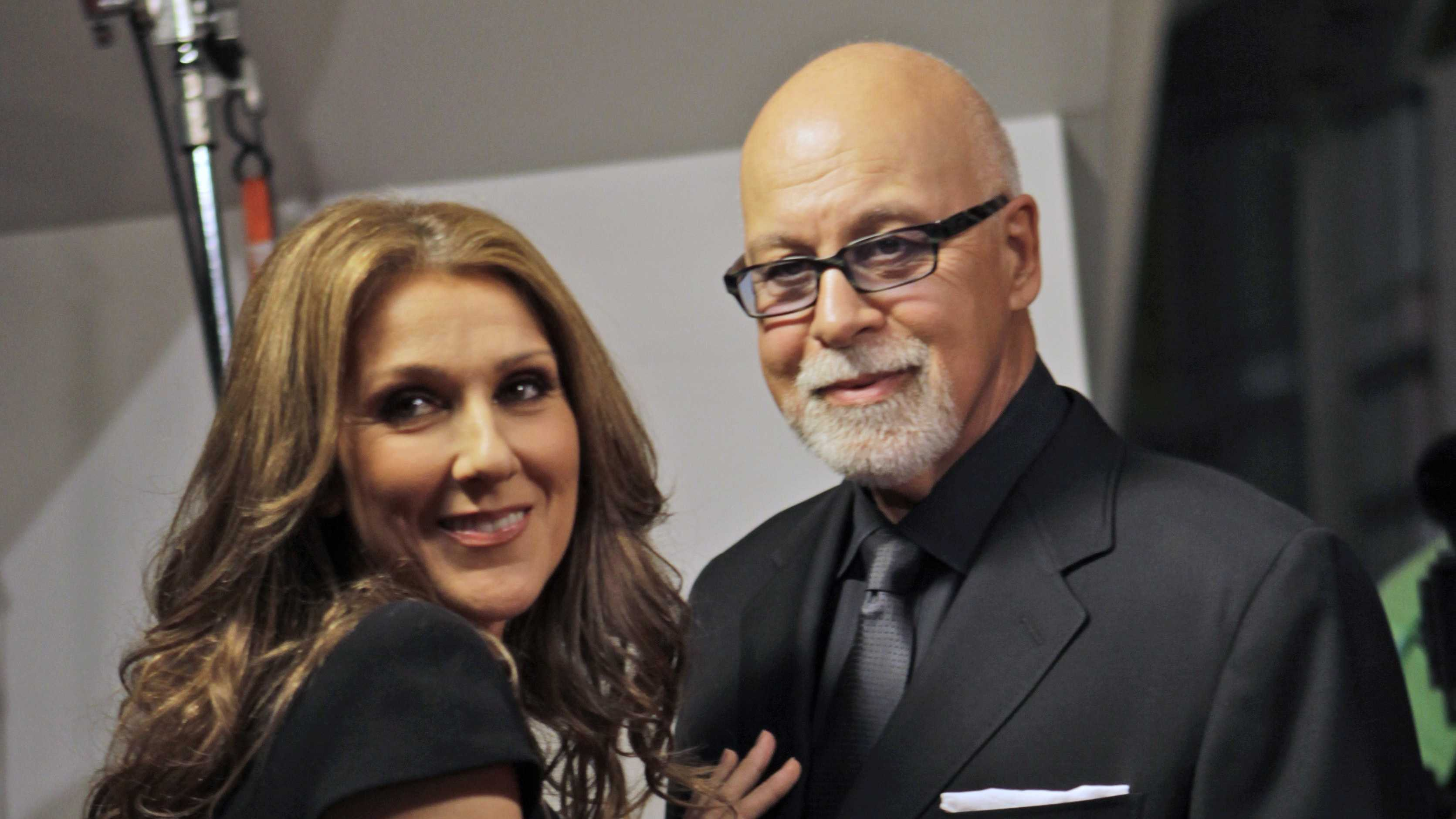 Celine Dion, left, poses with her husband Rene Angelil, right.