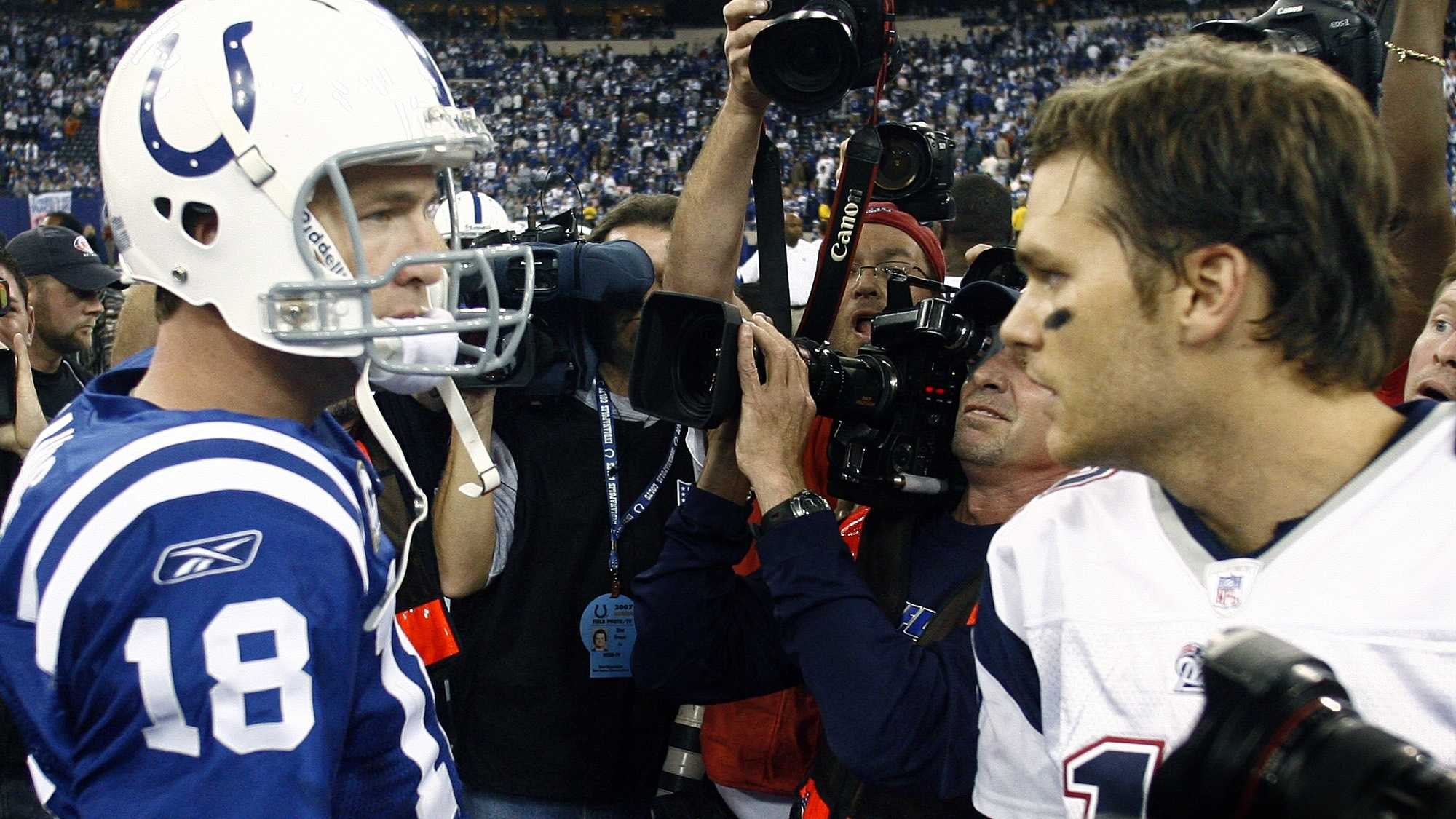 2007 AFC Championship - Patriots vs. ColtsIt was the second AFC Championship between Colts quarterback Peyton Manning and Tom Brady. The Colts managed to overcome a 21–3 deficit to the Patriots.