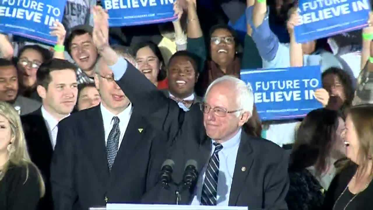 Bernie Sanders addresses cheering supporters after win in New Hampshire