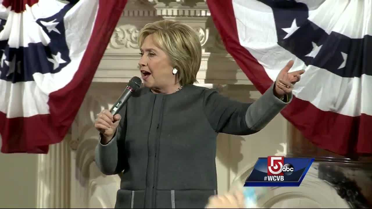 Hillary Clinton held a rally in Boston on Monday, speaking about what she would do as president and asking Bostonians to help her get there on Super Tuesday.