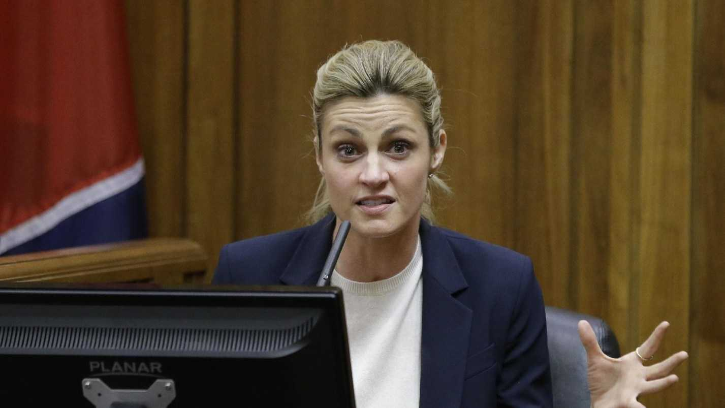 Sportscaster and television host Erin Andrews testifies Monday, Feb. 29, 2016, in Nashville, Tenn. Andrews has filed a $75 million lawsuit against the franchise owner and manager of a luxury hotel and a man who admitted to making secret nude recordings of her in 2008.
