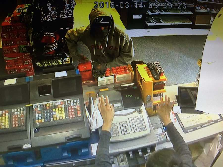 A man brandishing a large butcher knife robber a Waltham convenience store Monday morning.