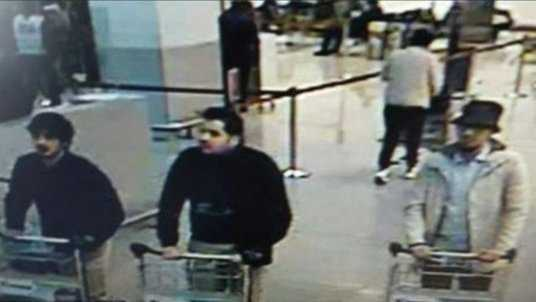 Picture released by Belgian police shows 3 possible suspects from Brussels airport attack.