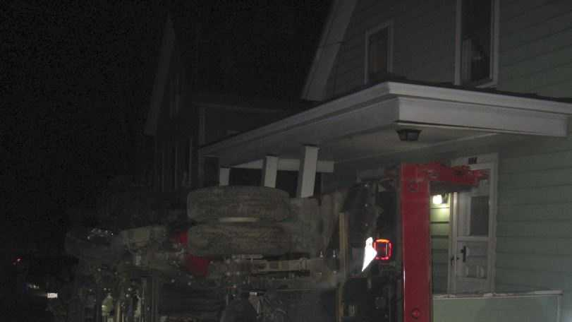 A man led Lebanon police on an early morning chase before he crashed a stolen dump truck into a house.