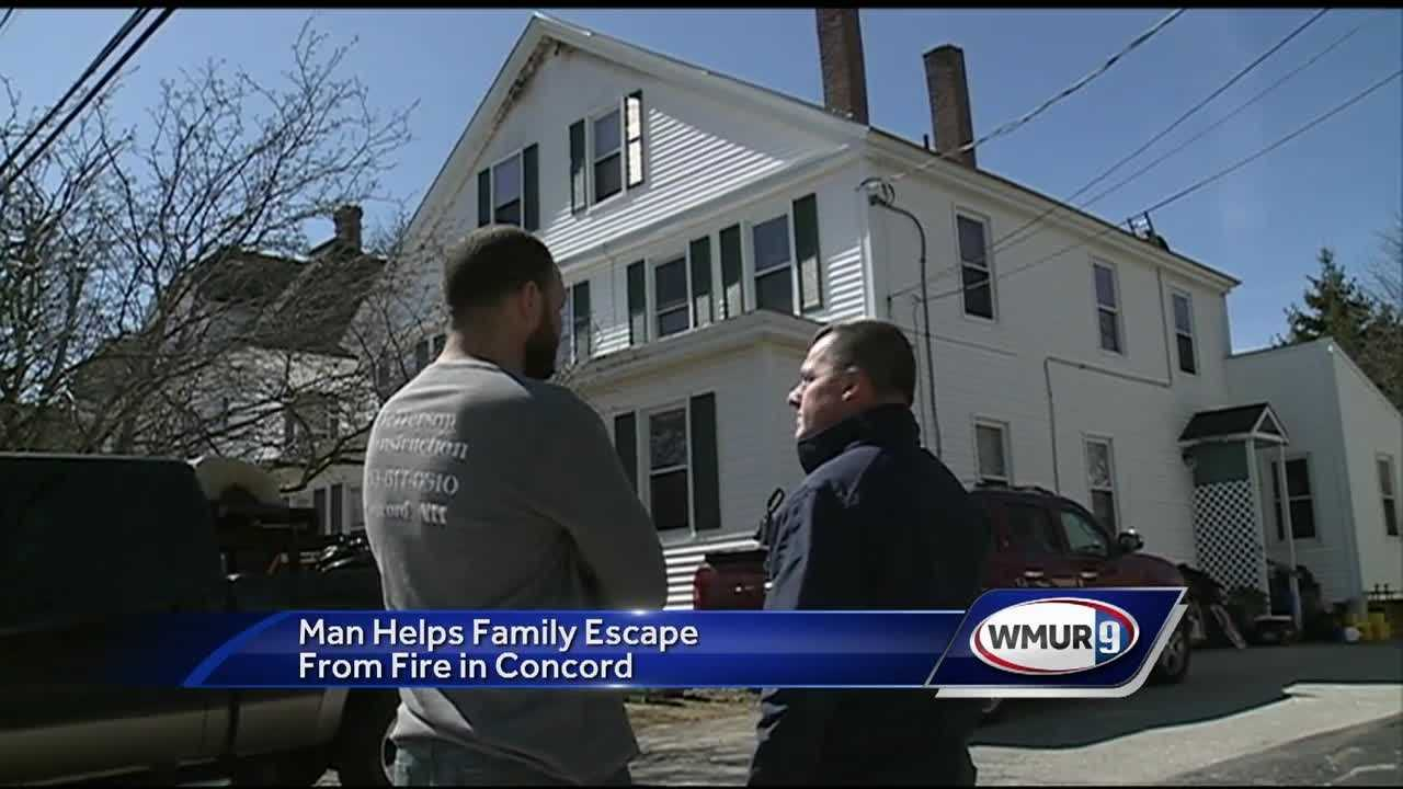 A man on his way to a job site Tuesday saw flames coming from an apartment building in Concord and rushed in to help.