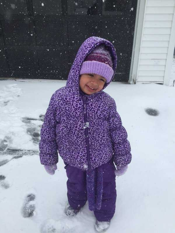 """Not sure how much snow we have in Fitchburg right now, but my daughter loves it!!"""