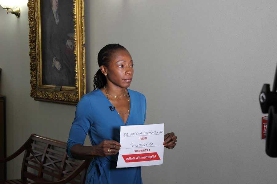 President & CEO of The Dimock Center, Dr. Myechia Minter-Jordan, took the pledge