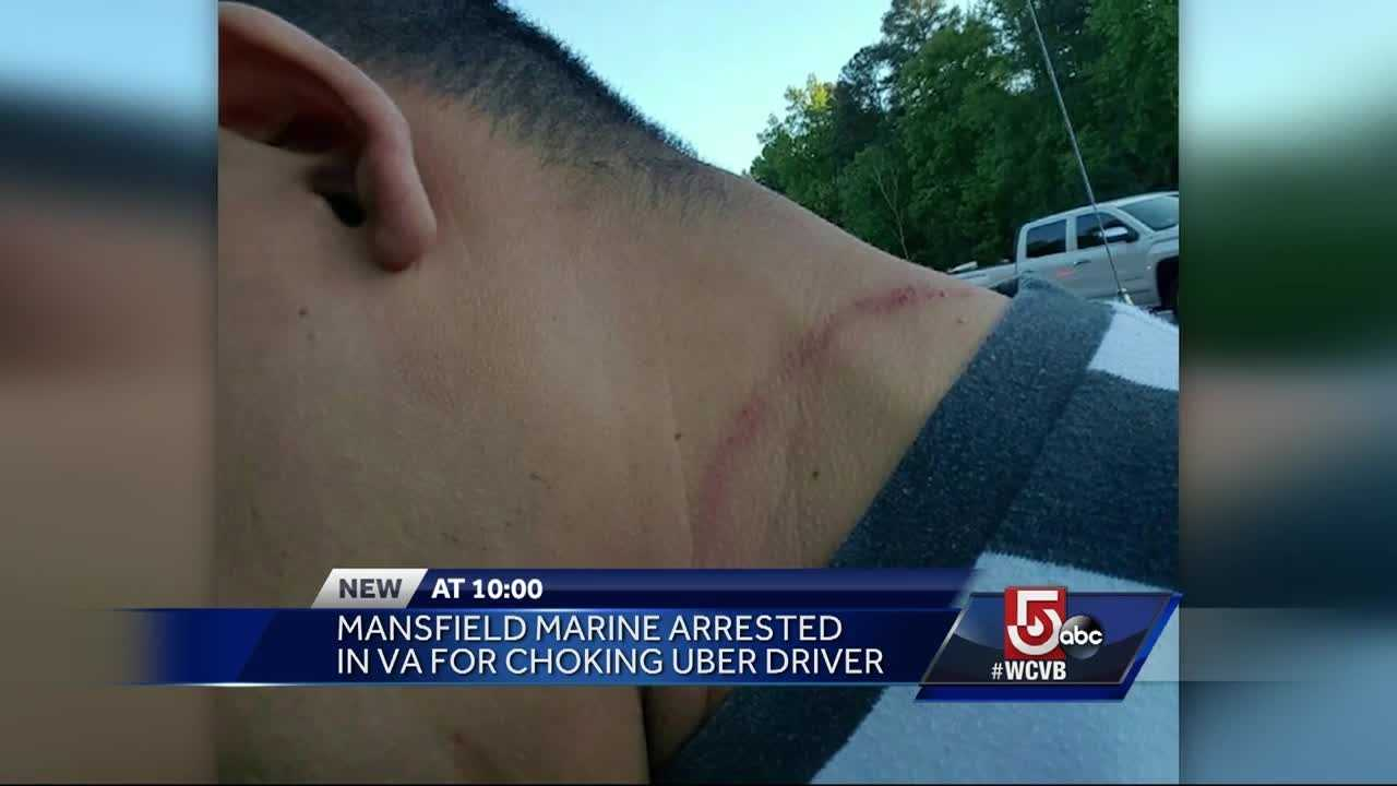A Mansfield marine is being accused of choking an Uber driver while he was driving on I-95.