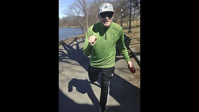 This March 2016 photo provided by Eamonn Kelly shows Kelly running beside Jamaica Pond in Boston. Born with cystic fibrosis, Kelly plans to run a 5-kilometer race on Saturday, April 30, 2016, just six months after double-lung transplant surgery. Cystic fibrosis is a deadly disease that affects the digestive system and lungs, making it difficult to breathe.