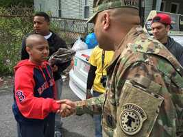 A 13-year-old Boston boy battling cancer was given the ultimate solider surprise Monday.