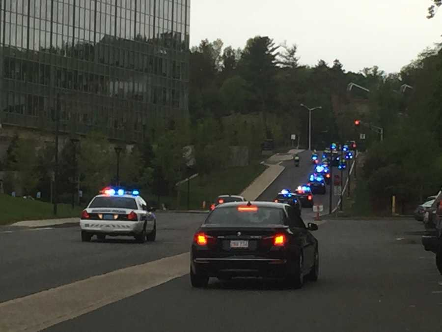 A large presence at the procession for the officer shot and killed.