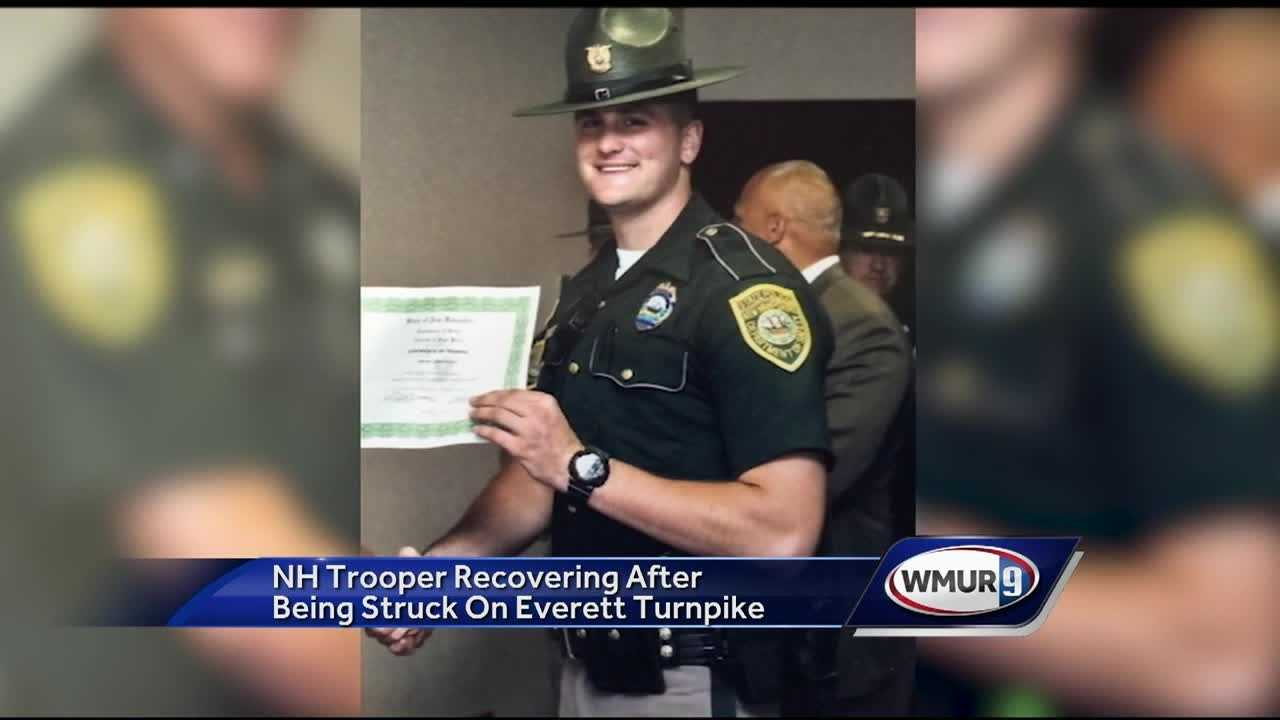 The fiancee of a New Hampshire state trooper who was hit by a car on the interstate said Monday that it could have been a lot worse.