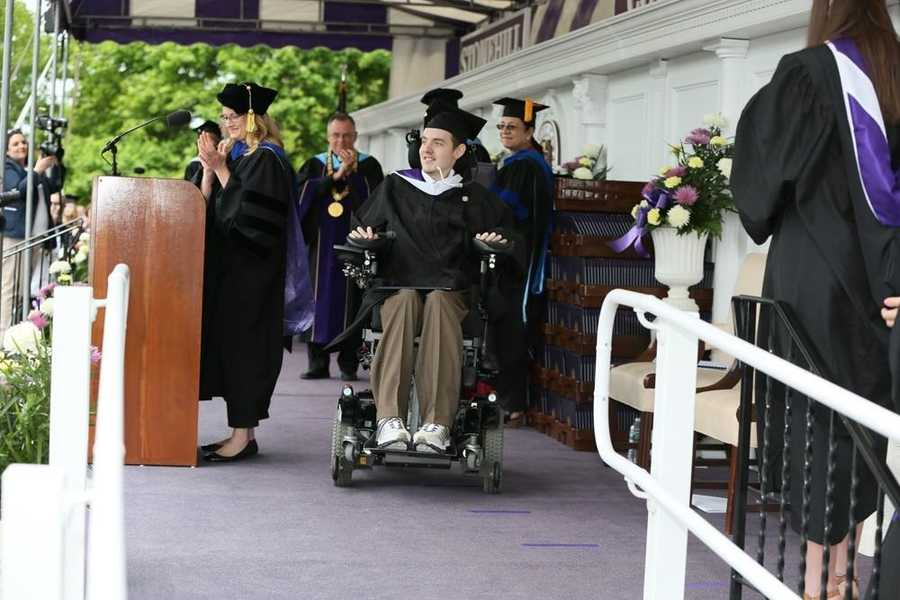Norwood's Matt Brown who was paralyzed in 2010 while playing hockey graduates from Stonehill