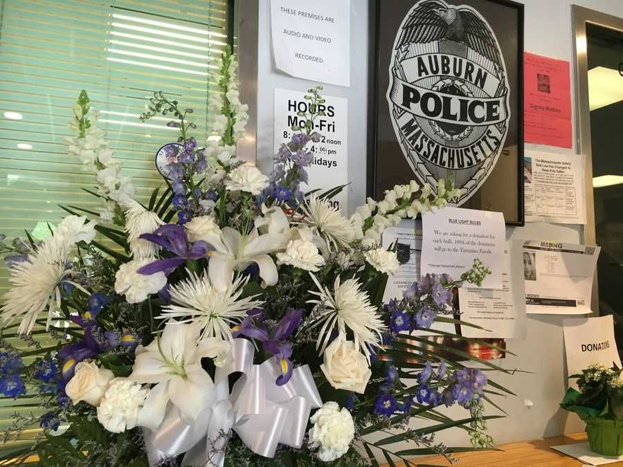 Flowers inside the Auburn Police Department