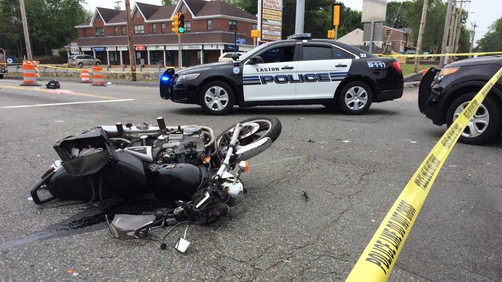 A man was taken to the hospital by helicopter after he was involved in a motorcycle crash at the intersection of Foundry and Turnpike Streets in Easton on Sunday, May 29, 2016.