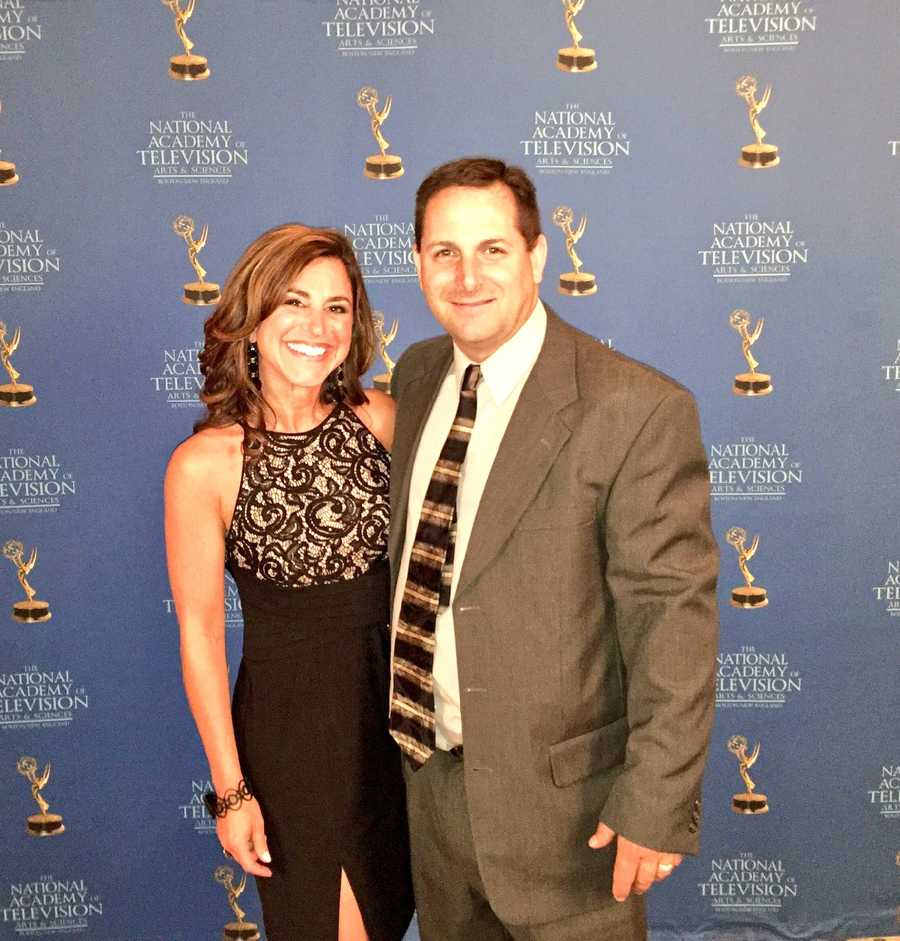 StormTeam 5's Cindy Fitzgibbon at the New England Emmys with her husband, Chris.