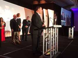 NewsCenter 5 Executive Producer Scott Isaacs accepts a New England Emmy Award for Best Breaking News Coverage.