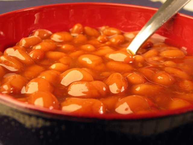 Baked beans: One cup of home prepared baked beans has 1068 mg of sodium