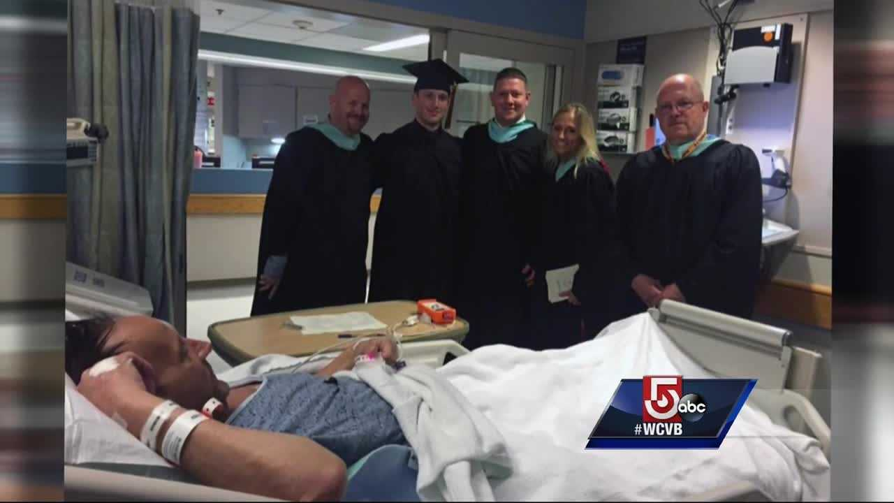 Guy Eddy graduated from Stoughton High School this week, but his father, battling liver cancer, couldn't attend.  Eddy's principal and teacher held a second graduation at the hospital Friday night.