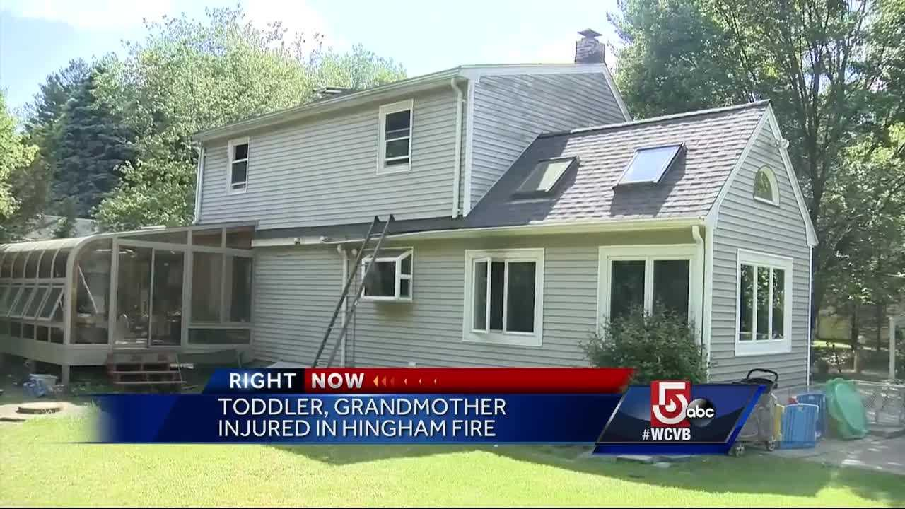A disabled veteran jumped out the window of a fire that injured a toddler and a grandmother.