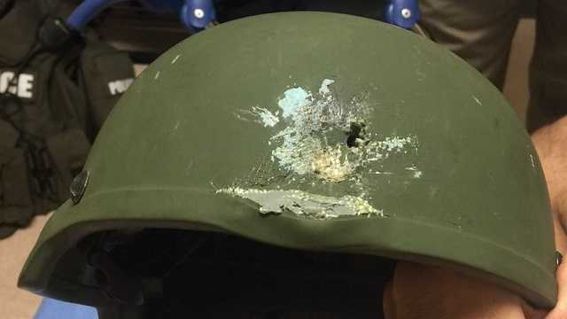 Orlando police say this Kevlar helmet saved an officer's life while he responded to the shooting.