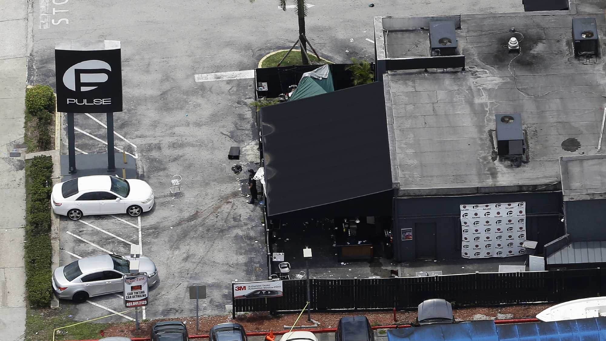 This photo shows the Pulse nightclub following a fatal shooting Sunday, June 12, 2016, in Orlando, Fla.