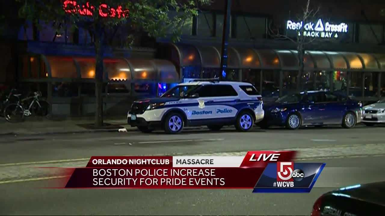 An increased Boston Police presence was visible outside Boston's gay bars and clubs Sunday night, hours after an attack in Orlando left at least 50 dead.