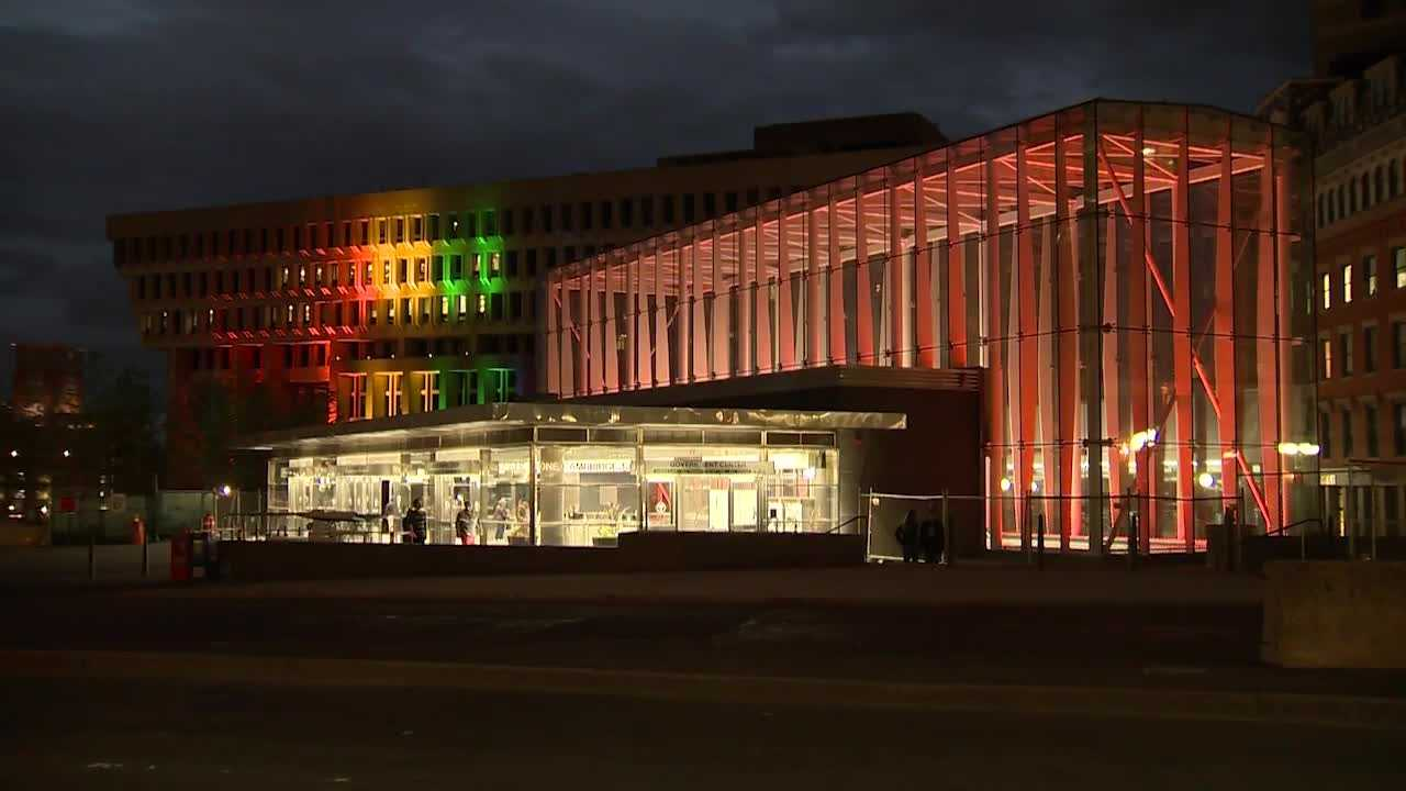 Watch as this time lapse video shows the Government Center T station light up in rainbow colors.