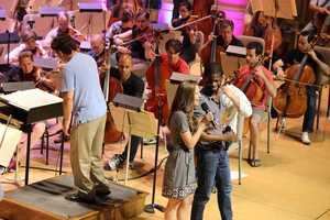 Performers were also involved in this rehearsal -- their only chance to practice with the accompaniment of the orchestra before their live performance.