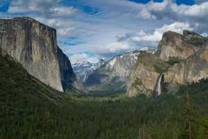 Yosemite National Park covers 1,170 square miles, but people only explore seven miles of the park. Located in California, it is known for its granite cliffs and thunderous waterfalls.