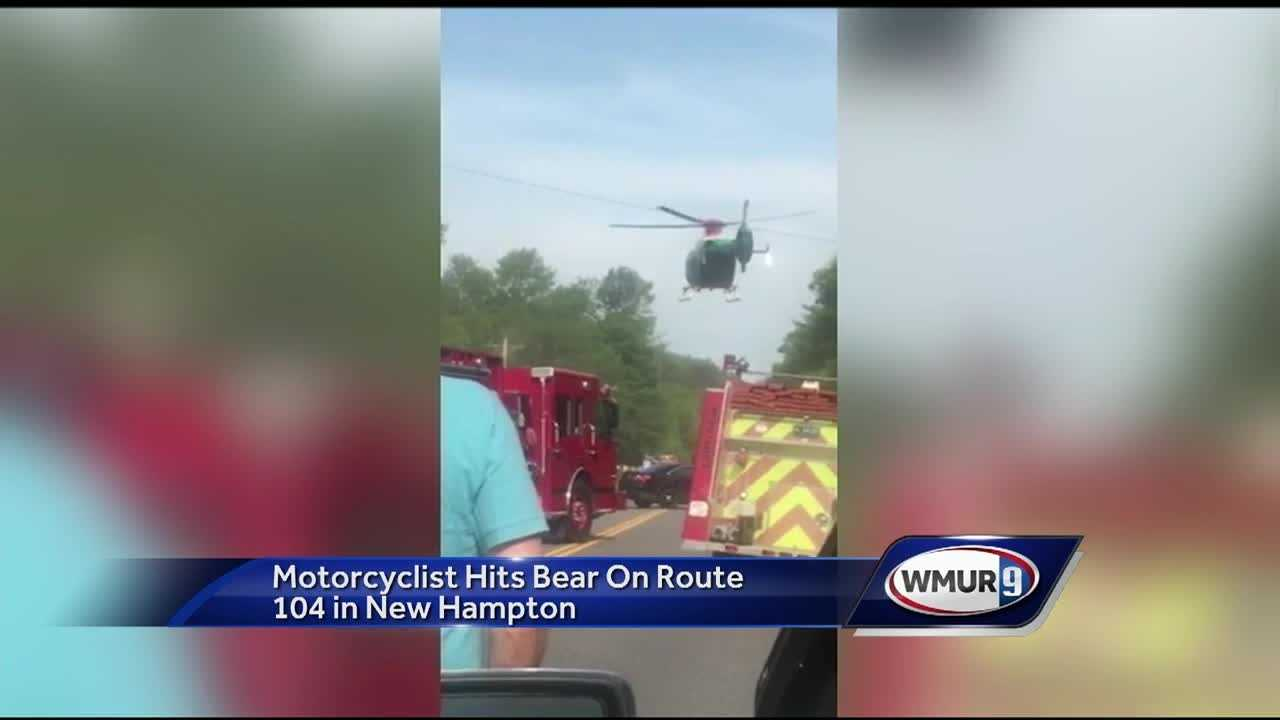 A father is in the hospital Sunday night after crashing his motorcycle into a bear.