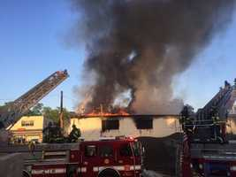 A large fire breaks out inside a Boston warehouse Saturday evening.