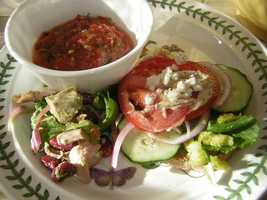 Gazpacho has many health ingredients and is has only 88 calories and 4 grams of fat per cup. Best part? ZERO CHOLESTEROL