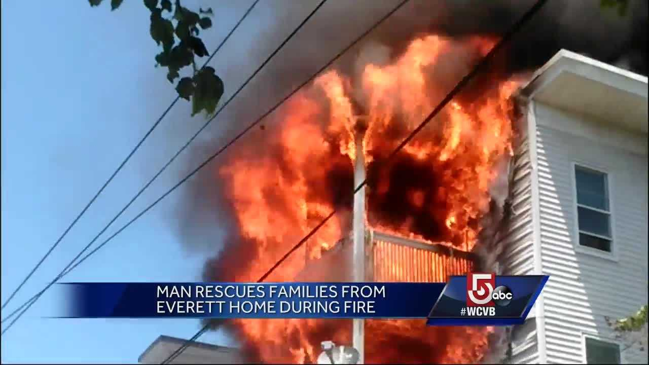 He saw others watching the fire, so he sprung into action and helped save lives from a burning home.