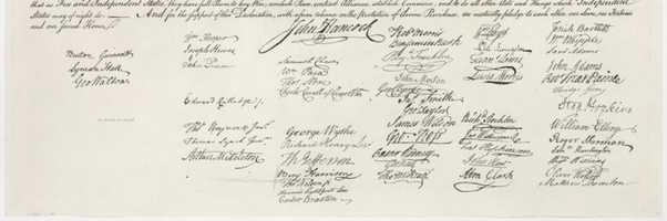 56 men signed the Declaration of Independence, including two future presidents, John Adams and Thomas Jefferson.